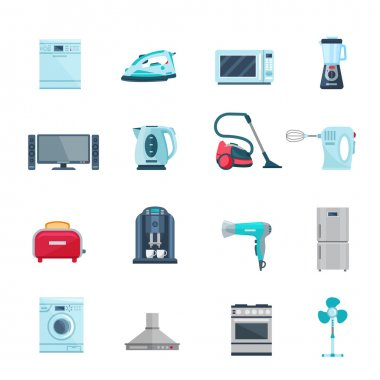 Flat Color Icons Set Of Household Appliances