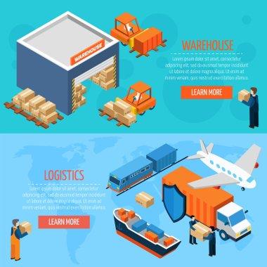Isometric Warehouse Logistics Banners