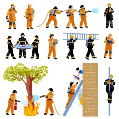 Firefighter People Flat Color Icons Set