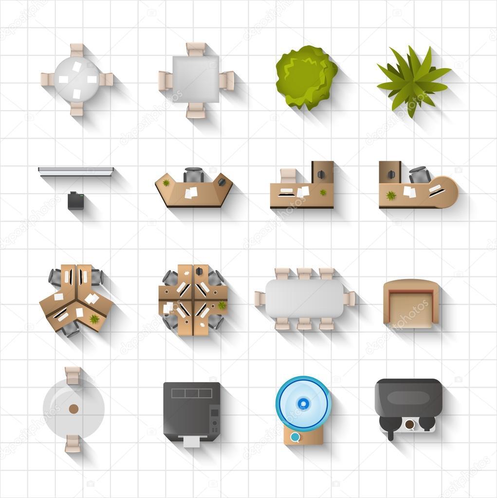 Interior Design Free Icons: Vue De Dessus De Bureau Intérieur Icônes