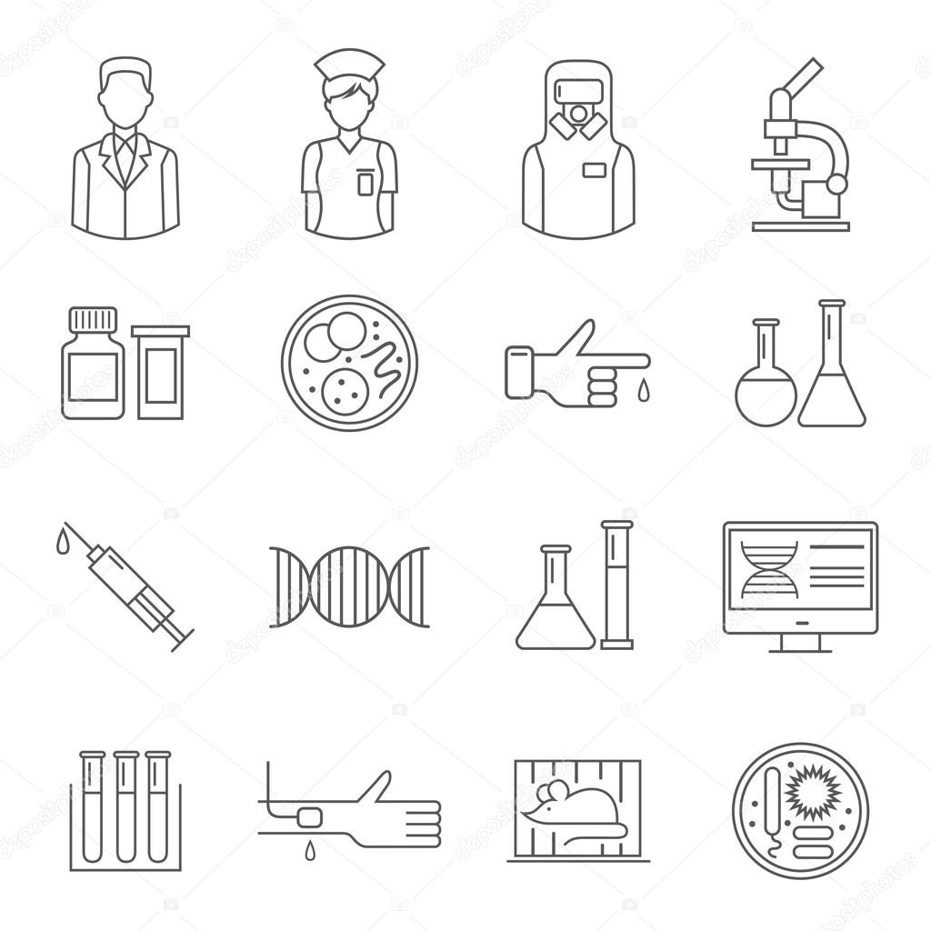 Microbiology symbol with white background stock vector microbiology thin line symbol depicting people laboratory equipment genetic elements syringe and assay isolated vector illustration vector by macrovector buycottarizona