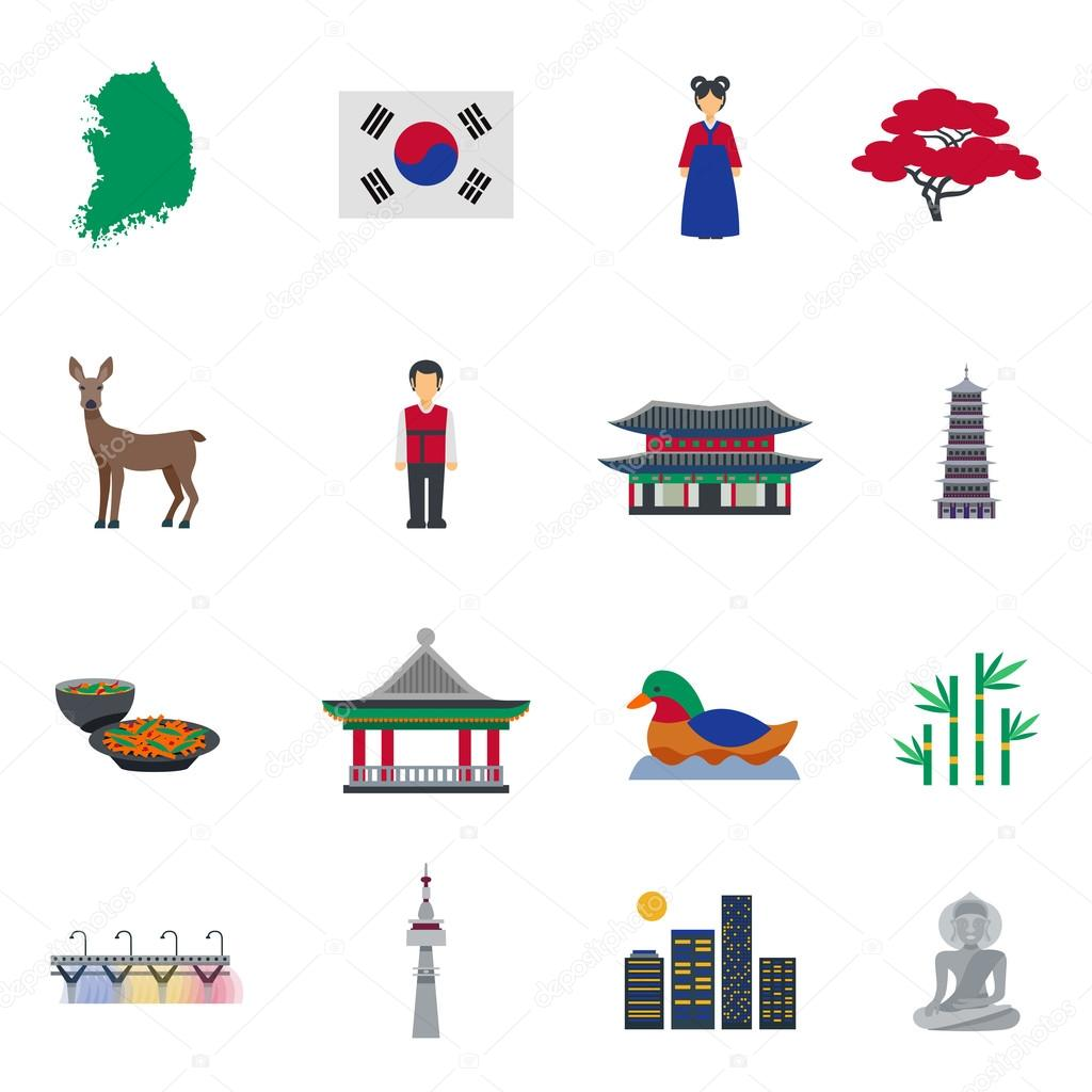 Korean culture symbols flat icons set stock vector macrovector korean culture symbols flat icons set stock vector biocorpaavc Image collections