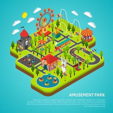 Amusement Park Attractions Fairground Isometric Banner