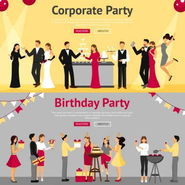 Set of corporate and birthday party banners with celebrating communicating people flat isolated vector illustration clip art vector