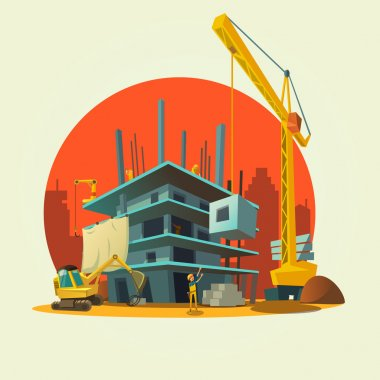 Construction cartoon illustration