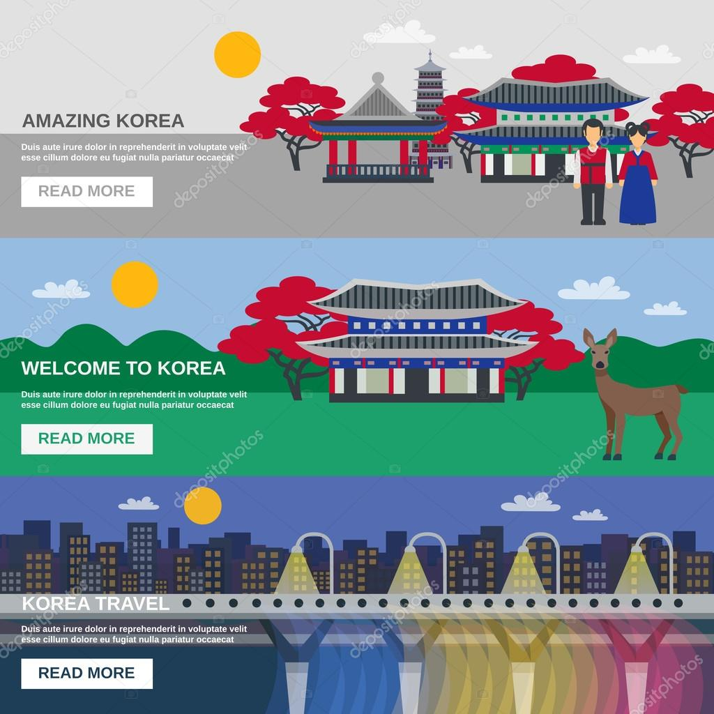 Korean Culture 3 Flat Banners Set Stock Vector Macrovector 95257950
