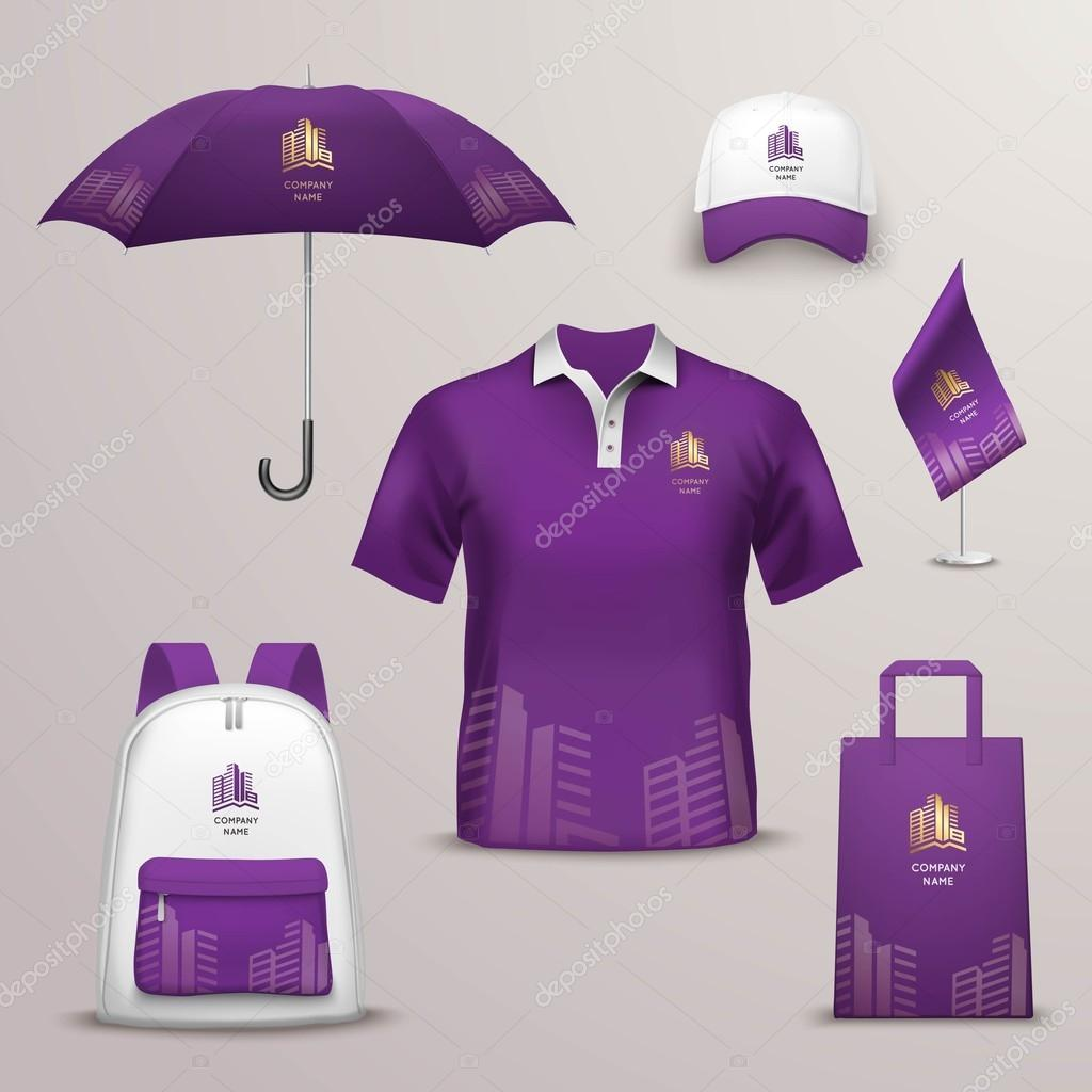 Promotional souvenirs design icons for corporate identity for Compressed promotional t shirts