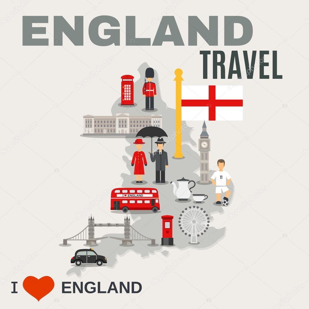 Cultura de Inglaterra para el cartel de los viajeros — Vector de ...