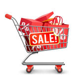 Fotografie Sale Full Shopping Cart Red Pictogram