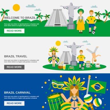 Brazilian Culture 3 Flat Banners Set