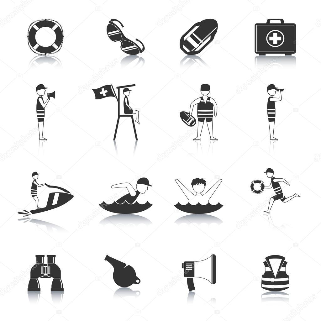 Lifeguard Black Icons Set
