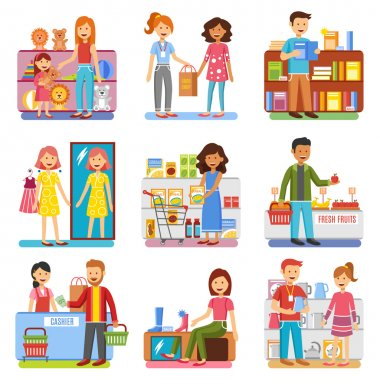 Family Shopping Concept  Flat PIctograms Collection