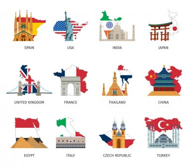 Countries Flags Landmarks Flat Icons Set