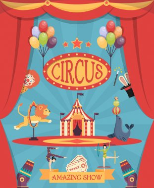 Amazing circus show poster with arena theatre coulisse tent and trained lion and navy seal flat vector illustration stock vector