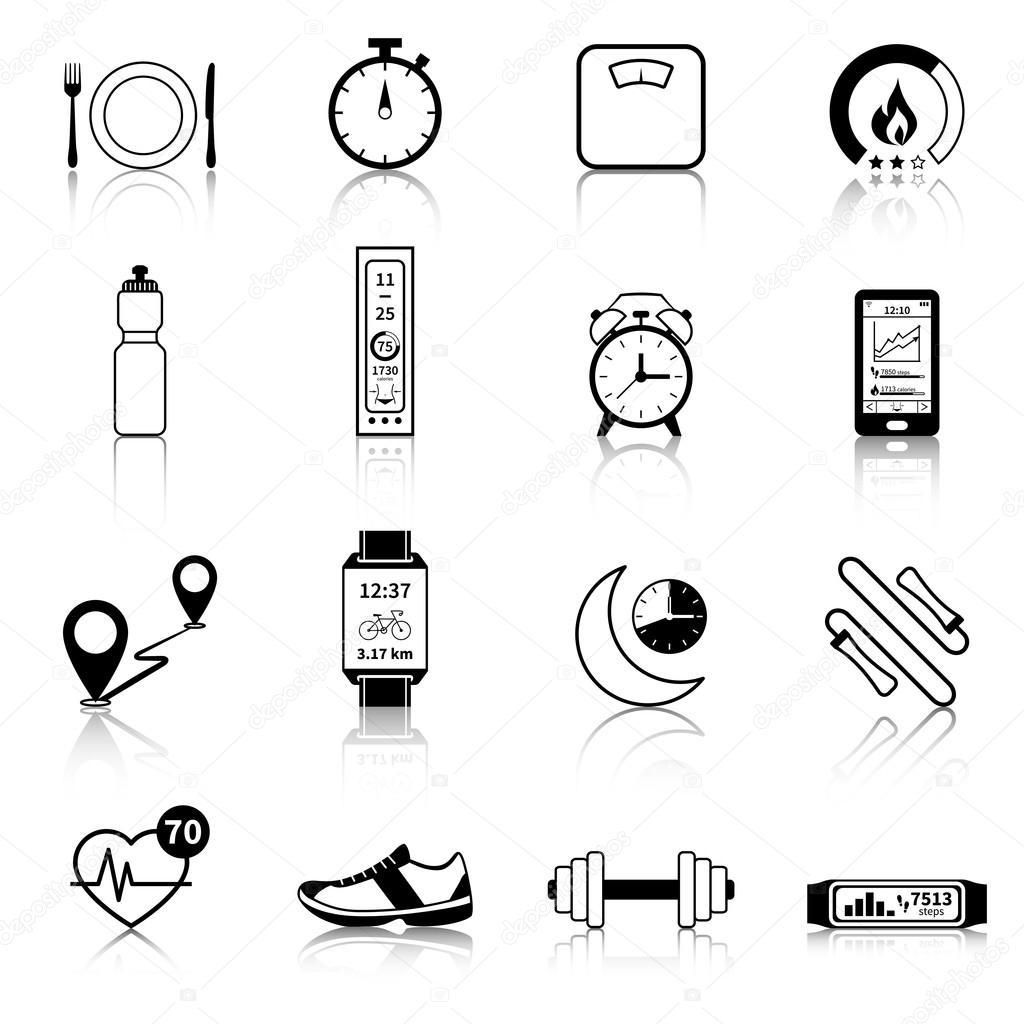 Fitness Tracker negro los iconos — Vector de stock © macrovector ...
