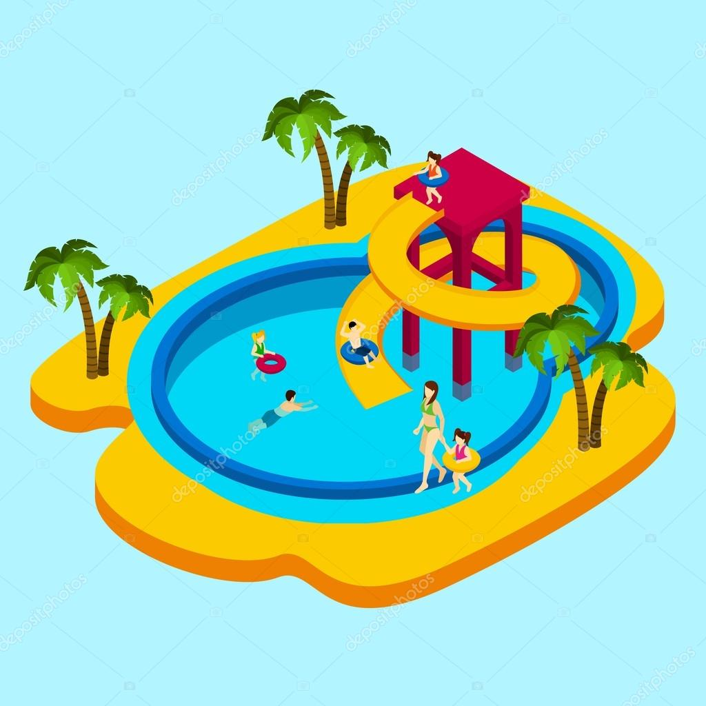 Water park illustration stock vector macrovector 96984558 How to draw swimming pool water