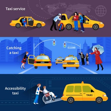 Banners Set Of Taxi Service