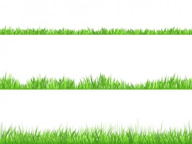 Green Grass Flat Horizontal  Banners Set