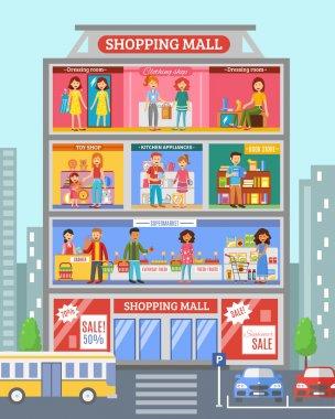 Shopping Center Desingn Flat Banner