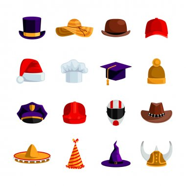 Hats And Caps  Flat Color Icons