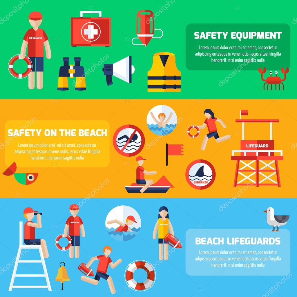 Life Guard Flat Banners Set