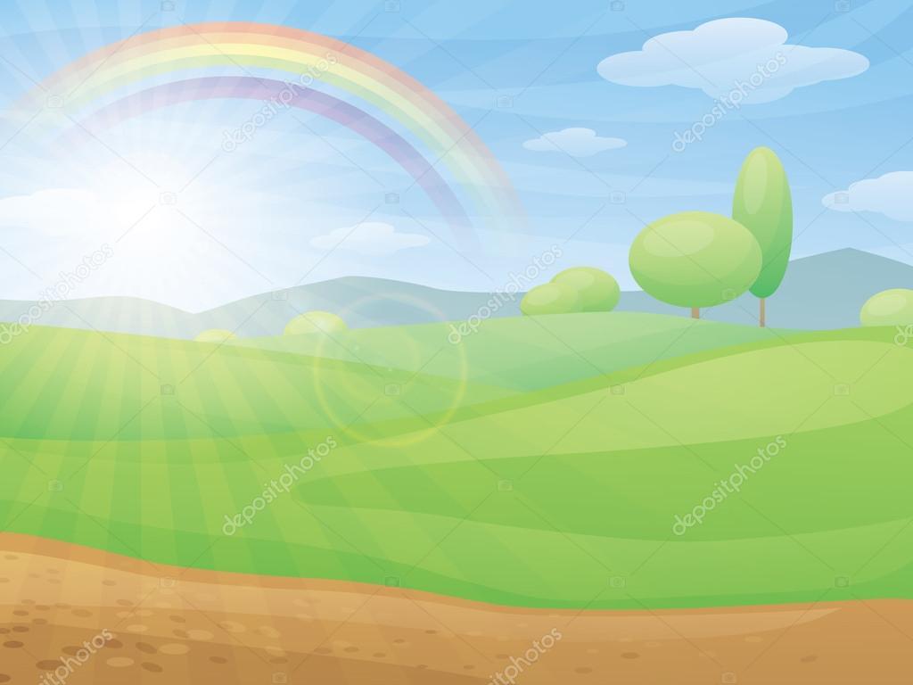 Landscape Illustration Vector Free: Kids Cartoon Landscape With Rainbow