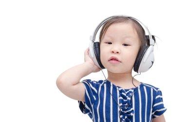 girl listening music by headphone