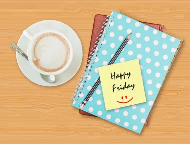 Happy Friday and smile on blank paper with coffee cup