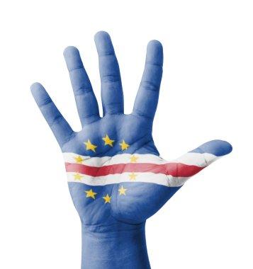 Open hand raised, multi purpose concept, Cape Verde flag painted
