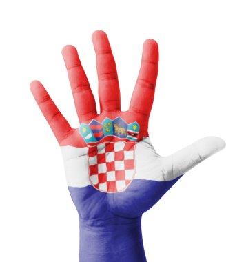 Open hand raised, multi purpose concept, Croatia flag painted -