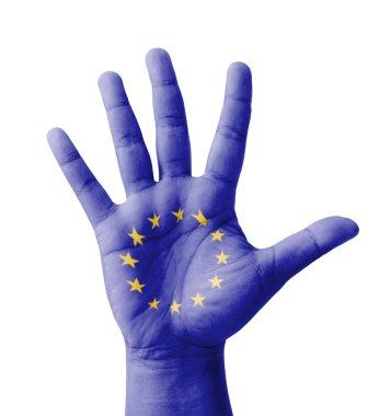 Open hand raised, multi purpose concept, EU (European Union) fla