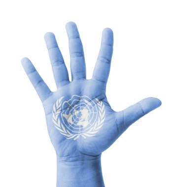 Open hand raised, multi purpose concept, UN (United Nations) fla