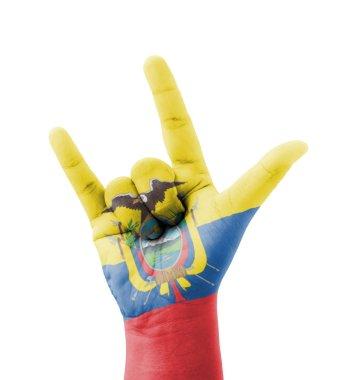 Hand making I love you sign, Ecuador flag painted, multi purpose