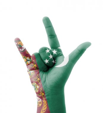 Hand making I love you sign, Turkmenistan flag painted, multi pu