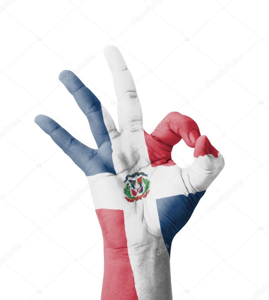 Hand Making Ok Sign Dominican Republic Flag Painted As Symbol O