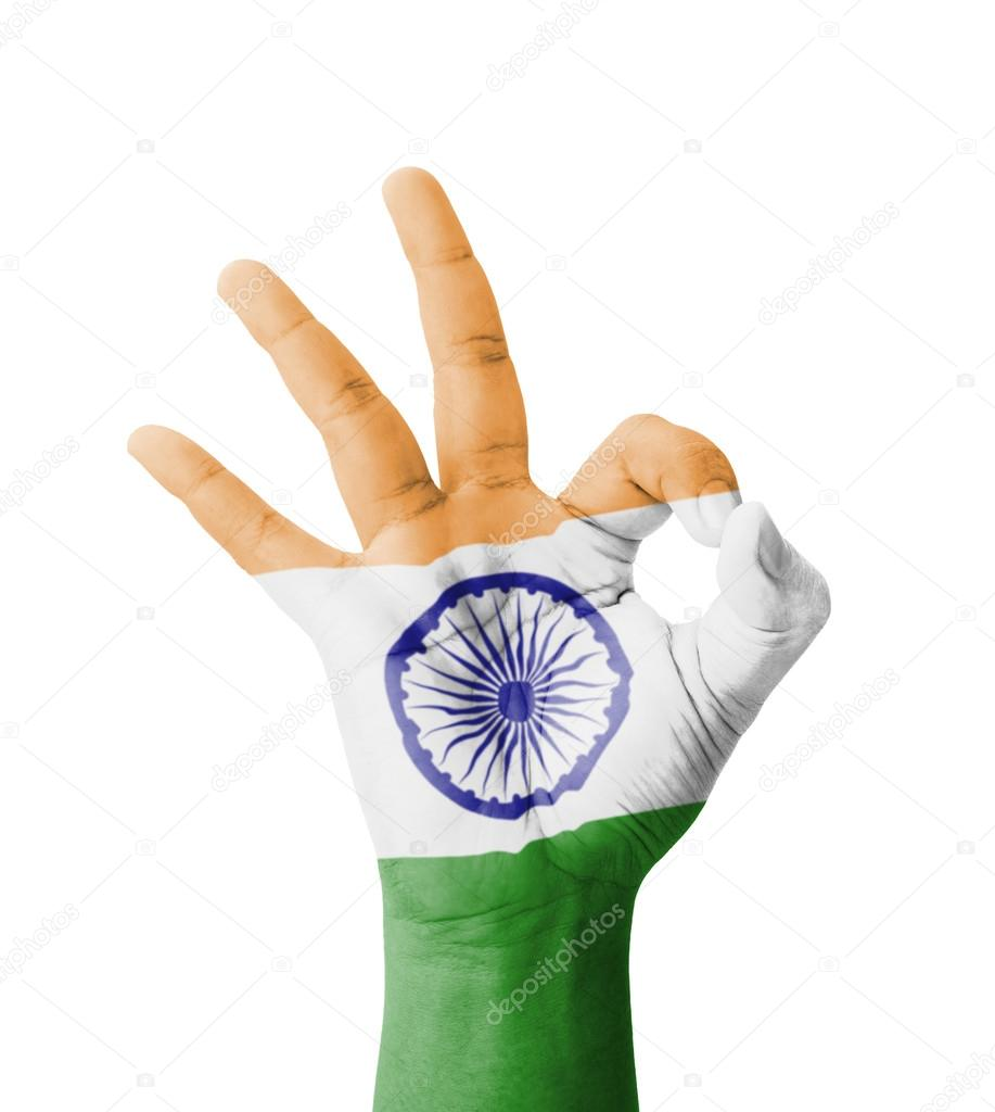 Hand Making Ok Sign India Flag Painted As Symbol Of Best Qualit