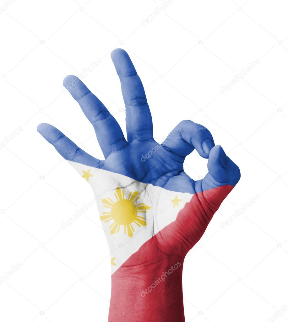Hand making ok sign philippines flag painted as symbol of best hand making ok sign philippines flag painted as symbol of best stock photo buycottarizona Images