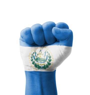Fist of El Salvador flag painted, multi purpose concept - isolat