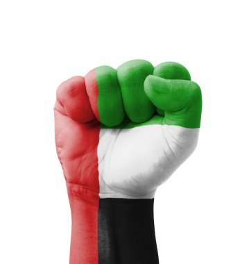 Fist of UAE (United Arab Emirates) flag painted, multi purpose c