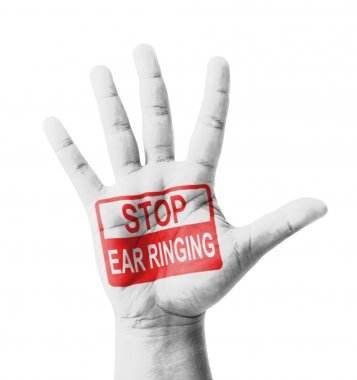 Open hand raised, Stop Ear Ringing (Tinnitus) sign painted, mult