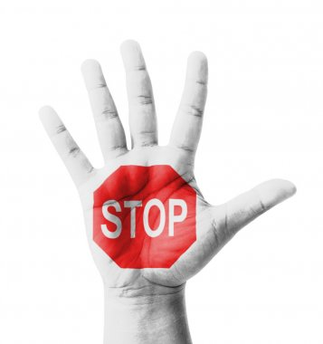 Open hand raised, STOP sign painted, multi purpose concept - iso