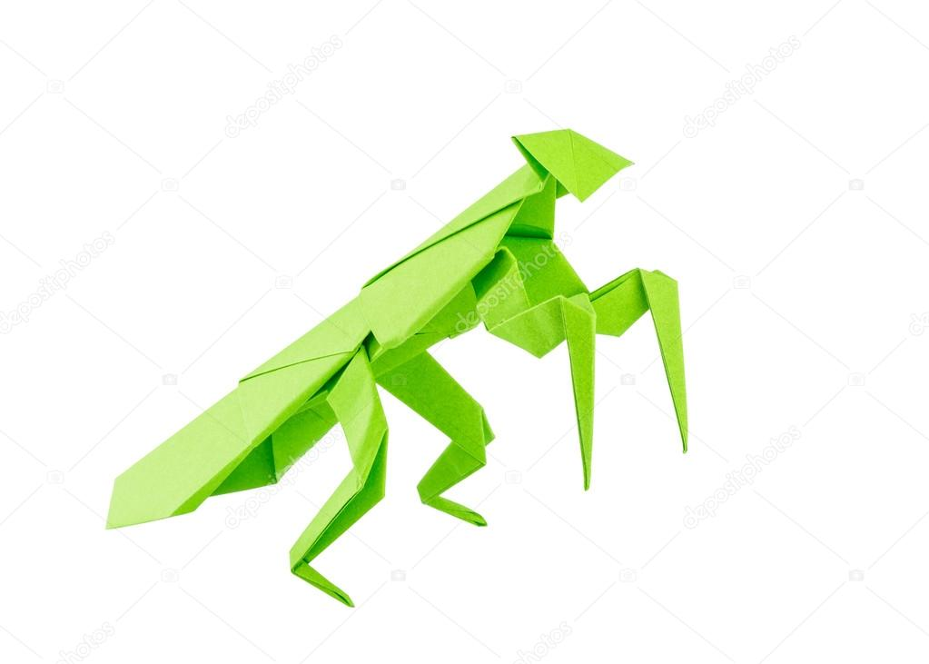 Origami Mantis Isolated On White Background Stock Photo