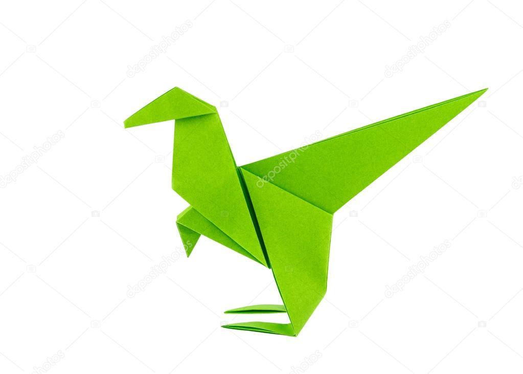 Dinosaurio de origami Raptor aislado en fondo blanco Foto de