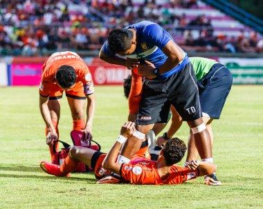 SISAKET THAILAND-JULY 23: First aid team of Sisaket FC. (blue) i