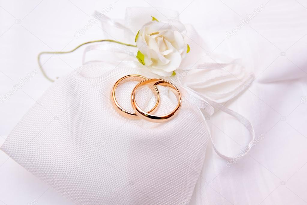 Wedding Rings On A White Cloth Bag Stock Photo C Spafra 122823866