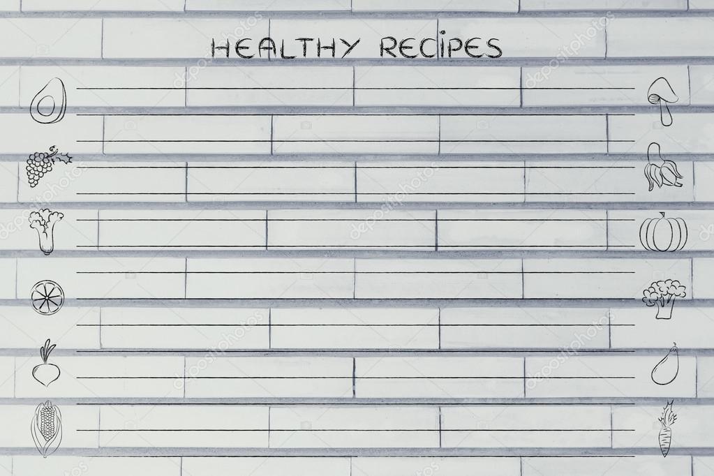 gesunde Rezepte-Vorlage — Stockfoto © Faithie #102925340