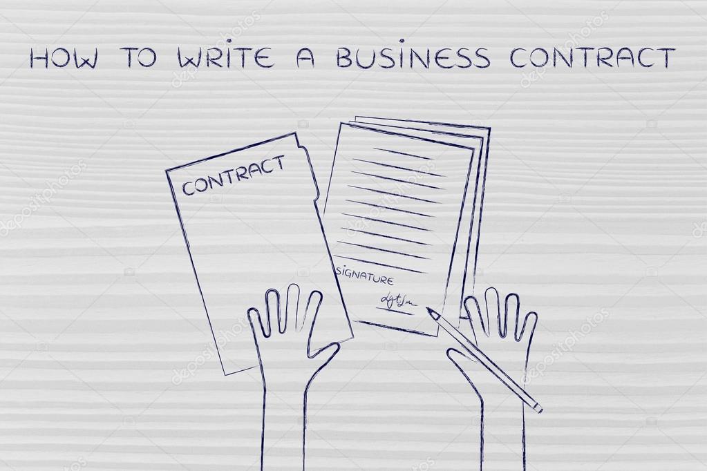 Konzept Wie Man Einen Business Vertrag Schreiben Stockfoto
