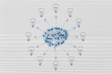 circuit brain with ideas coming out of it