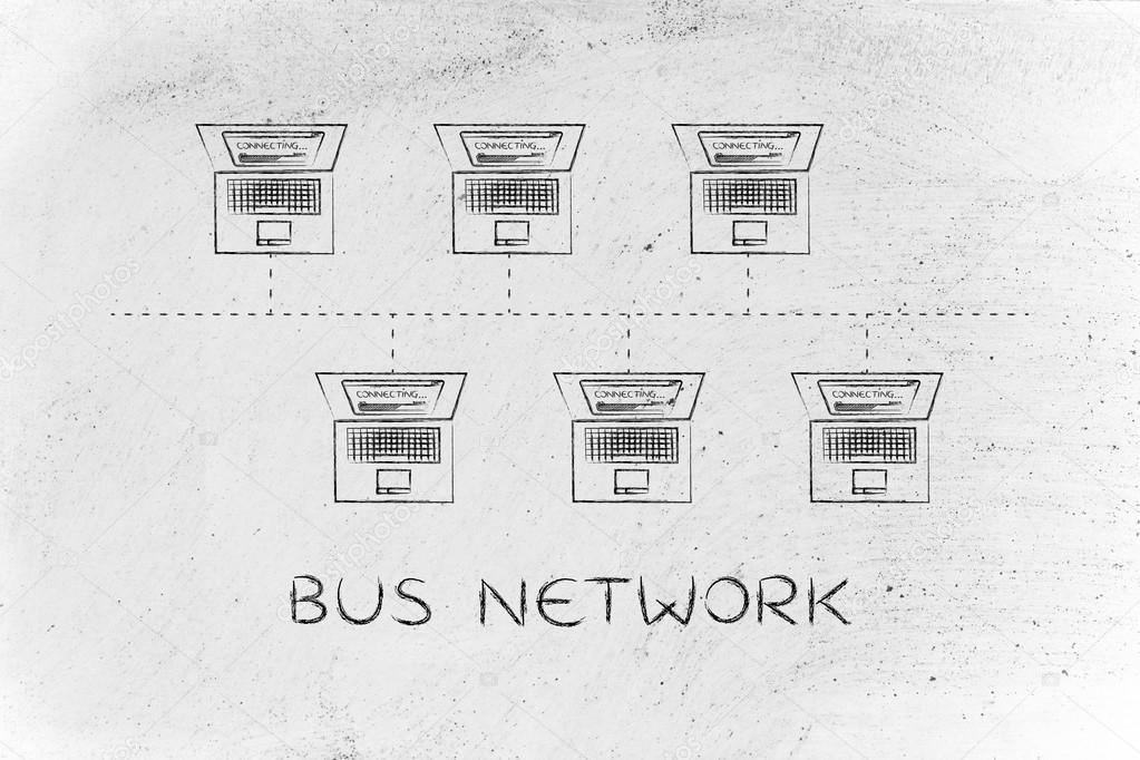 Concept of bus network topology stock photo faithie 111815788 bus network topology laptops connected with each other in a bus network structure photo by faithie publicscrutiny Gallery