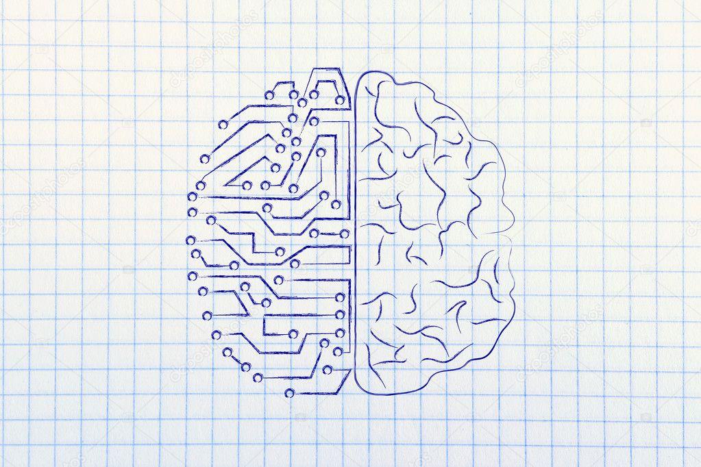 künstliche Schaltungen und menschliche Gehirn — Stockfoto © Faithie ...